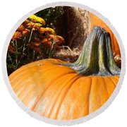 Fall Pumpkin Round Beach Towel