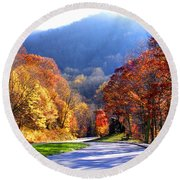 Fall Road 2 Round Beach Towel