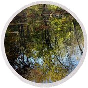 Fall Sand Bar Reflections Round Beach Towel