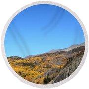 Fall Talkeetna Mountains Round Beach Towel