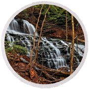 Fall Through The Woods Round Beach Towel