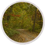 Fall Trail Scene 22 Round Beach Towel