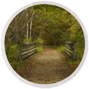 Fall Trail Scene 24 Round Beach Towel