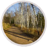 Fall Trail Scene 35 B Round Beach Towel