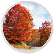 Fall Tree By The Road Round Beach Towel