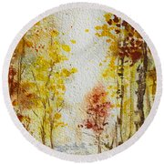 Fall Tree In Autumn Forest  Round Beach Towel