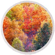 Fall Trees 3 Round Beach Towel