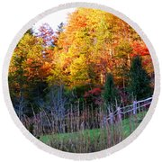 Fall Trees And Fence Round Beach Towel