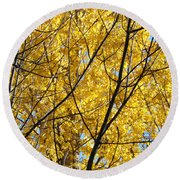 Fall Trees Art Prints Yellow Autumn Leaves Round Beach Towel