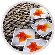 Fallen Autumn  Prints Round Beach Towel