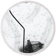 Fallen Lamplight In Snow Round Beach Towel