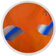 Falling Blue Round Beach Towel