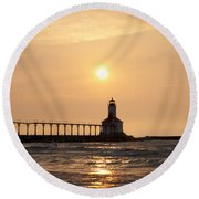 Falling On The Lighthouse Round Beach Towel