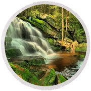 Falling Through The Woods Round Beach Towel