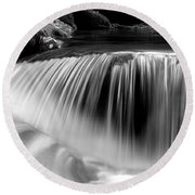Falling Water Black And White Round Beach Towel