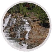 Falling Water Glen Alpine Falls Round Beach Towel