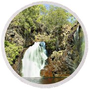 Falling Waters V2 Round Beach Towel