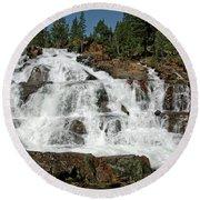 Falls Glen Alpine Falls Tahoe Round Beach Towel
