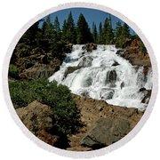 Falls In Site Glen Alpine Falls Round Beach Towel