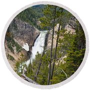 Falls In The Grand Canyon Of Yellowstone Round Beach Towel