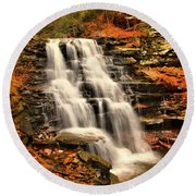 Falls In The Woods Round Beach Towel