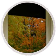 Fall's Reflective Moment Round Beach Towel