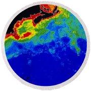 False Col Satellite Image Round Beach Towel by Dr. Gene Feldman, NASA Goddard Space Flight Center