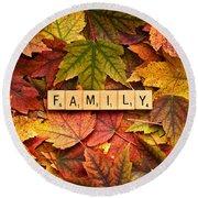 Family-autumn Inpsireme Round Beach Towel