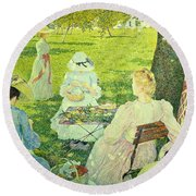 Family In The Orchard Round Beach Towel