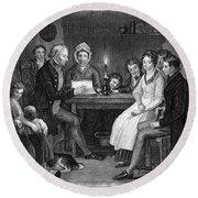 Family Reading, 1840 Round Beach Towel