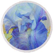Fanciful Flowers - Iris Round Beach Towel