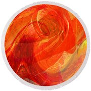 Fanciful Flowers - Rose Round Beach Towel
