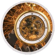 Fancy Pocketwatch On Gears Round Beach Towel