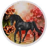 Fantasy Black Horse Round Beach Towel