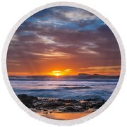 Farewell To Autumn Sun Round Beach Towel