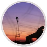 Farm At Sunset Round Beach Towel by David Davis and Photo Researchers