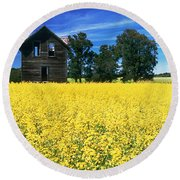 Farm House And Canola Field, Holland Round Beach Towel