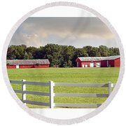 Farm Pasture Round Beach Towel by Brian Wallace