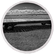 Farm Wagon In A Field On Prince Edward Island Round Beach Towel
