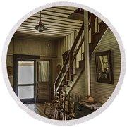 Farmhouse Entry Hall And Stairs Round Beach Towel by Lynn Palmer