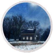 Farmhouse Under Full Moon In Winter Round Beach Towel