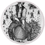 Farming: Corn Husker Round Beach Towel