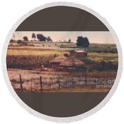 Farming In The Rift Valley Round Beach Towel