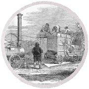 Farming: Threshing, 1851 Round Beach Towel