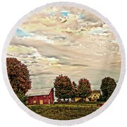 Farms From The Fifties Round Beach Towel