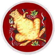 Fat Cat On A Cushion - Orange Cat Round Beach Towel