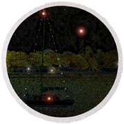Fat Moon Bay Round Beach Towel by David Lee Thompson