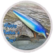 Fathers Day Greeting Card - Vintage Floyd Roman Nike Fishing Lure Round Beach Towel