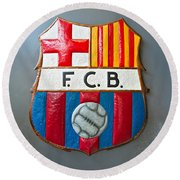 Fc Barcelona Symbol Round Beach Towel