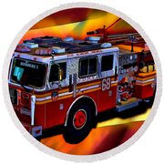 Fdny Engine 68 Round Beach Towel